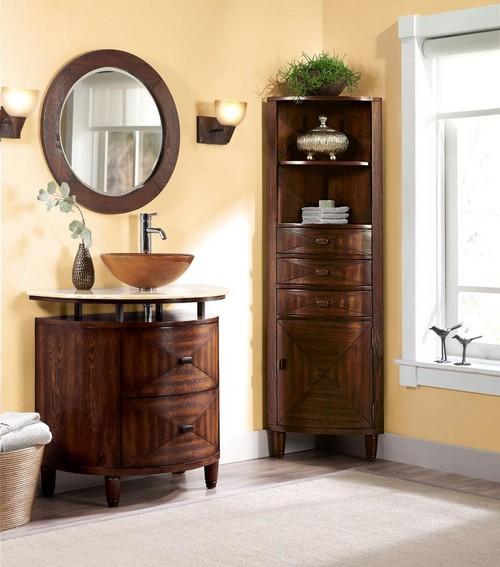 Black corner bathroom cabinet