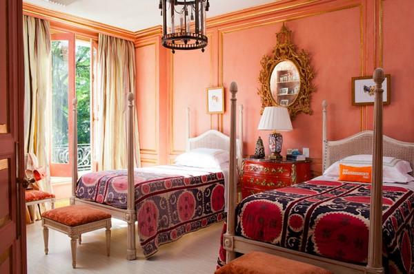 Peach walls bedroom