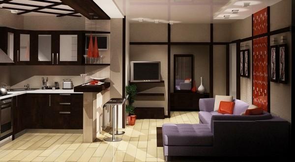 фото гостиная студия с кухней